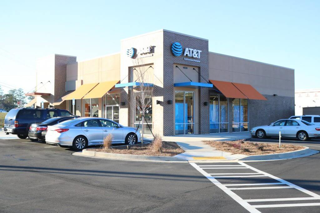 An AT&T store opened in December; Starbucks is set to open by month's end.